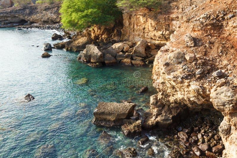 Tarrafal wilde kustlijn in het eiland van Santiago in Kaapverdië - Cabo royalty-vrije stock foto's