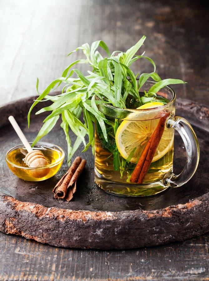 Tarragon hot drink tea stock images