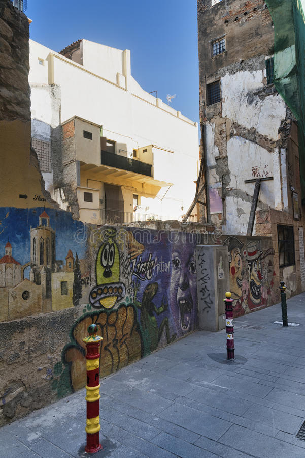Tarragona (Ισπανία): παλαιά οδός στοκ φωτογραφία