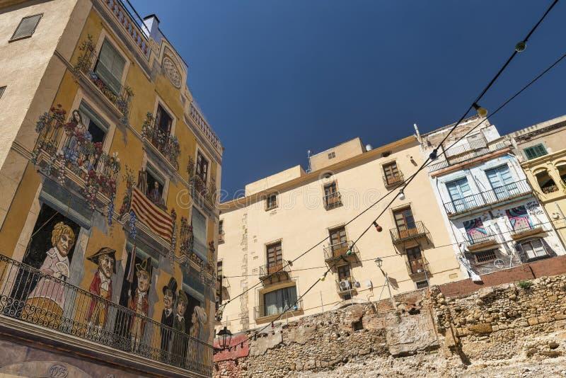 Tarragona (Hiszpania): stara ulica obrazy stock