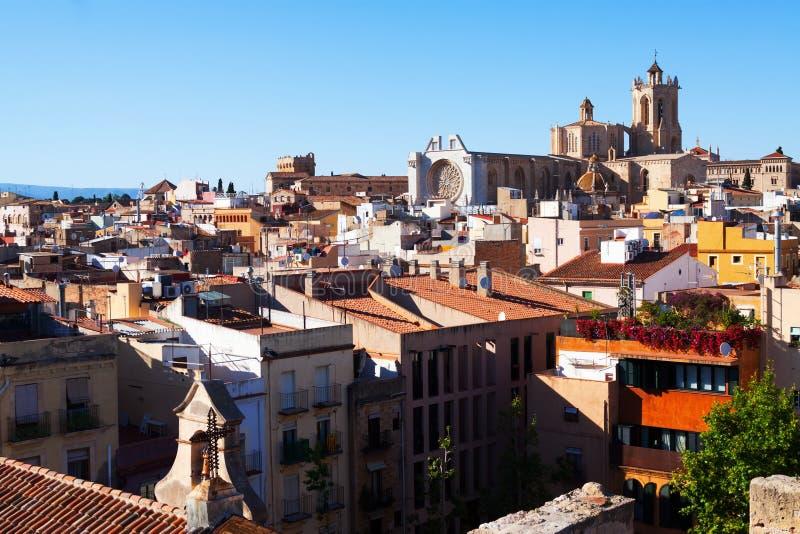Tarragona met Kathedraal in de lentedag catalonië stock foto