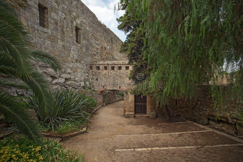 Tarragona Passeig arqueologic under Roman era walls. Tarragona Passeig arqueologic Archaeological Promenade under Roman era walls stock photography