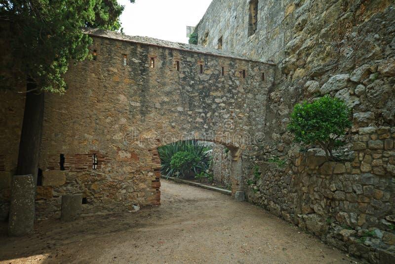 Tarragona Passeig arqueologic under Roman era walls. Tarragona Passeig arqueologic Archaeological Promenade under Roman era walls royalty free stock photos