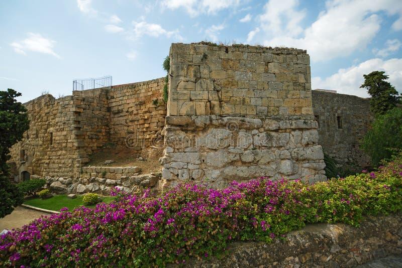 Tarragona Passeig arqueologic under Roman era walls. Tarragona Passeig arqueologic Archaeological Promenade under Roman era walls royalty free stock image