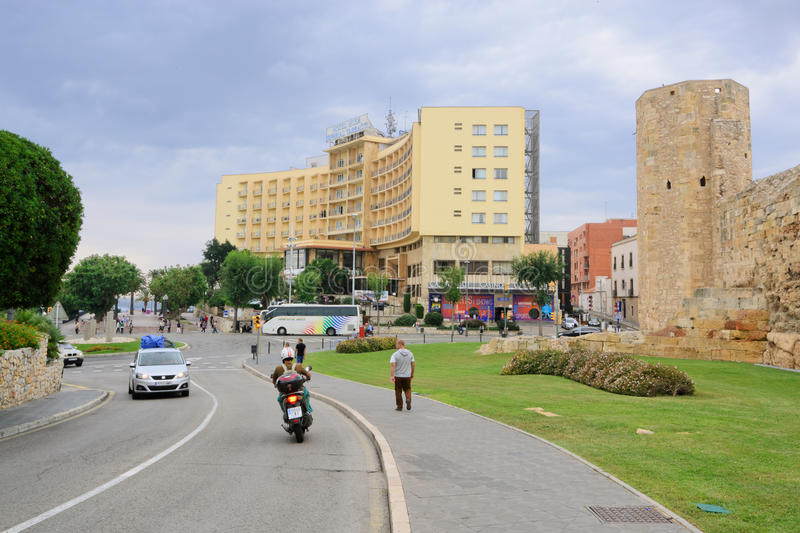 Tarragona road. View of the buildings and streets of the Spanish resort town of Tarragona royalty free stock photography