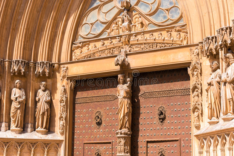 TARRAGONA, SPAIN � MAY 1, 2017: Cathedral Catholic cathedral. Sculptures on the facade of the building. stock photos