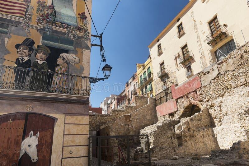 Tarragona & x28 Spain& x29: ιστορικά κτήρια στοκ εικόνα