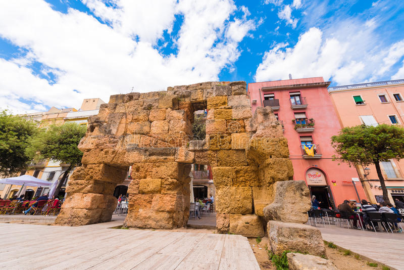 TARRAGONA, SPAIN - MAY 1, 2017: Ancient ruins in the city center. View of the area of the Provincial Forum. Copy space for. Text stock photo