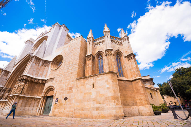 TARRAGONA, SPAIN - MAY 1, 2017: Cathedral of Tarragona, romanesque, gothic style. Copy space for text. TARRAGONA, SPAIN - MAY 1, 2017: Cathedral of Tarragona stock photo