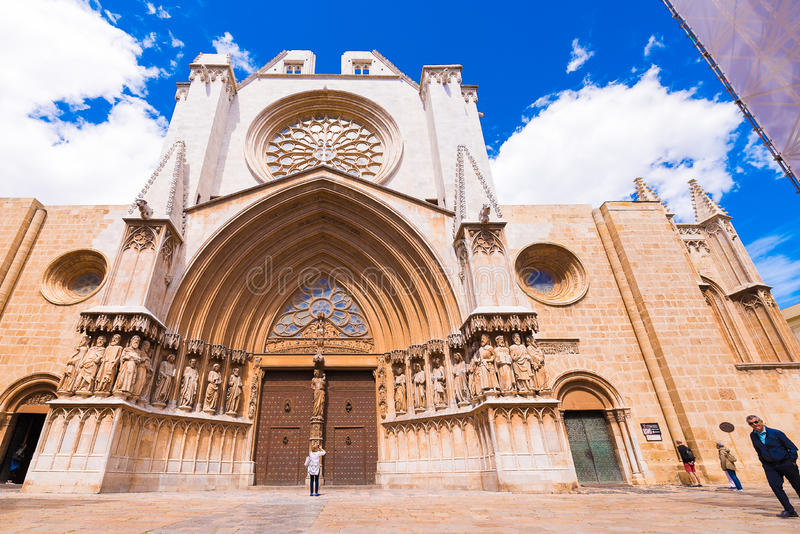 TARRAGONA, SPAIN - MAY 1, 2017: Cathedral of Tarragona, romanesque, gothic style. Copy space for text. TARRAGONA, SPAIN - MAY 1, 2017: Cathedral of Tarragona stock images