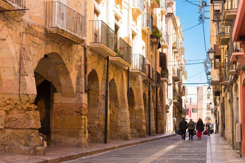 TARRAGONA, SPAIN - MAY 1, 2017: European street. Copy space for text. stock photos