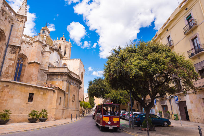 TARRAGONA, SPAIN - MAY 1, 2017: Old City Street. Copy space for text. TARRAGONA, SPAIN - MAY 1, 2017: Old City Street. Copy space for text stock images