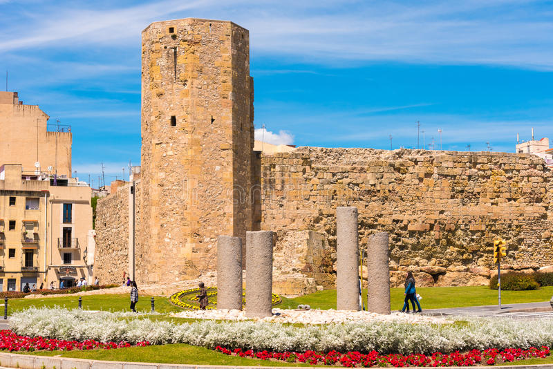 TARRAGONA, SPAIN - MAY 1, 2017: Roman circus and Pretorium tower. Copy space. TARRAGONA, SPAIN - MAY 1, 2017: Roman circus and Pretorium tower. Copy space royalty free stock photography