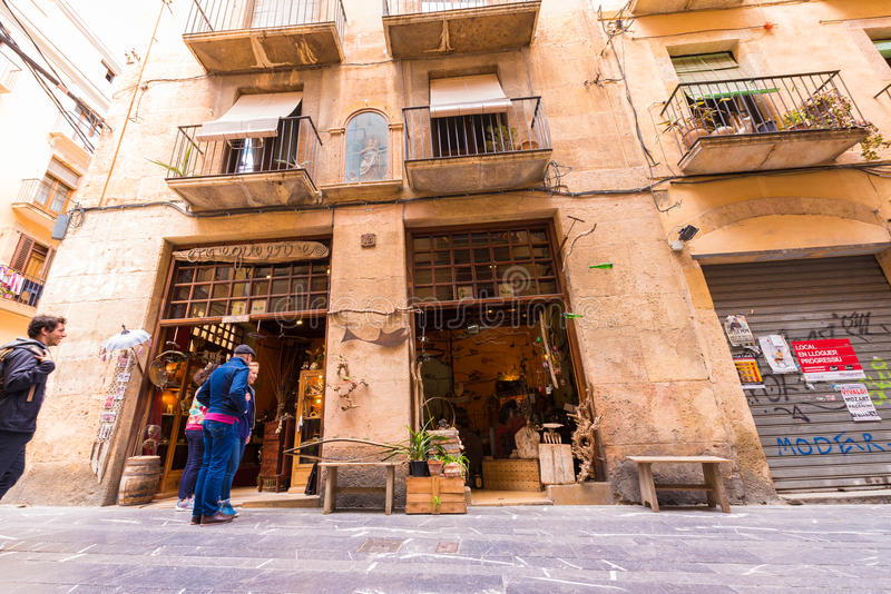 TARRAGONA, SPAIN - MAY 1, 2017: Souvenir shop in the street of the old city. Copy space for text. TARRAGONA, SPAIN - MAY 1, 2017: Souvenir shop in the street of stock photos