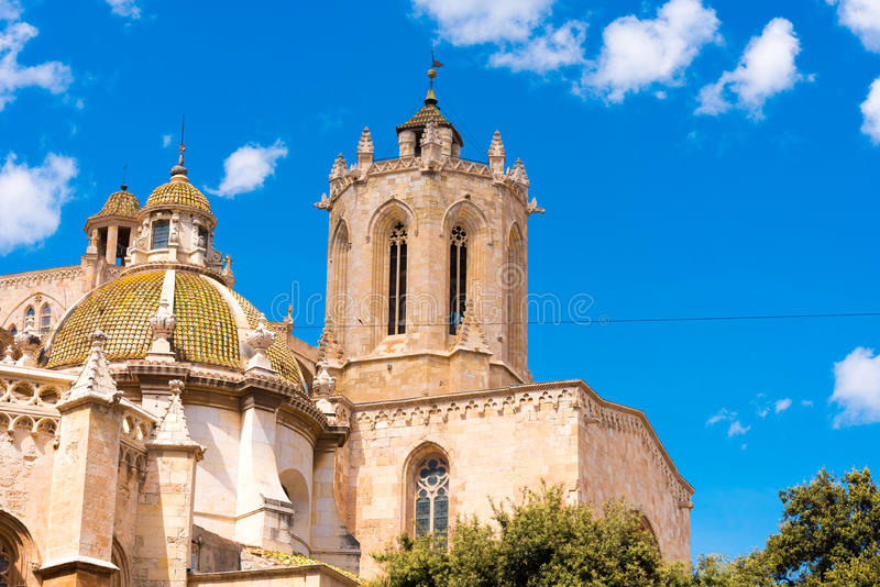 TARRAGONA, SPAIN - MAY 1, 2017: Tarragona Cathedral Catholic cathedral on a sunny day. Copy space. Space for text. TARRAGONA, SPAIN - MAY 1, 2017: Tarragona stock images