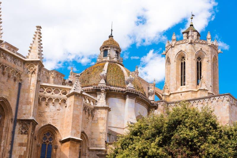 TARRAGONA, SPAIN - MAY 1, 2017: Tarragona Cathedral Catholic cathedral on a sunny day. TARRAGONA, SPAIN - MAY 1, 2017: Tarragona Cathedral Catholic cathedral on royalty free stock images