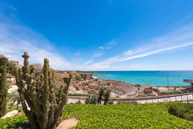 TARRAGONA, SPAIN - MAY 1, 2017: View of the ancient roman amphitheater. Copy space for text. TARRAGONA, SPAIN - MAY 1, 2017: View of the ancient roman royalty free stock image