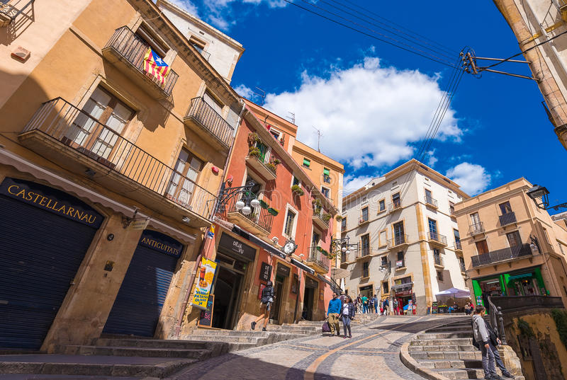 TARRAGONA, SPAIN - MAY 1, 2017: View of the Old Town. Copy space for text. TARRAGONA, SPAIN - MAY 1, 2017: View of the Old Town. Copy space for text stock photos