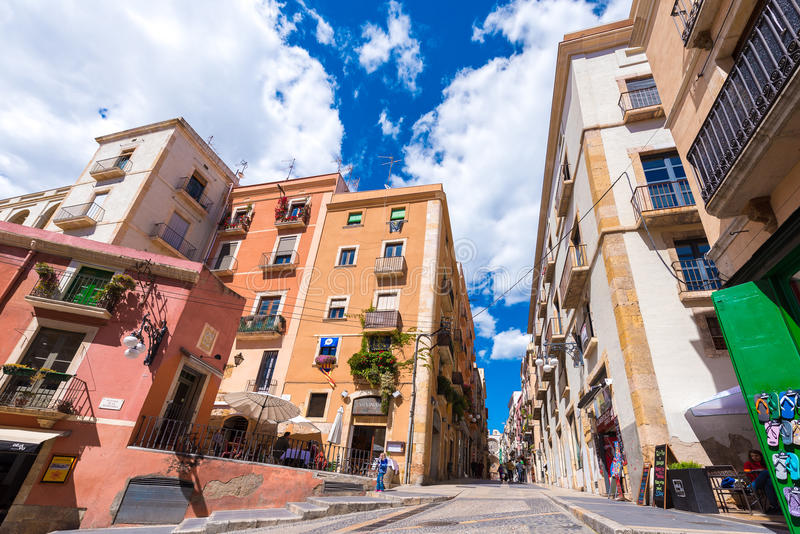 TARRAGONA, SPAIN - MAY 1, 2017: View of the Old Town. Copy space for text. TARRAGONA, SPAIN - MAY 1, 2017: View of the Old Town. Copy space for text stock image