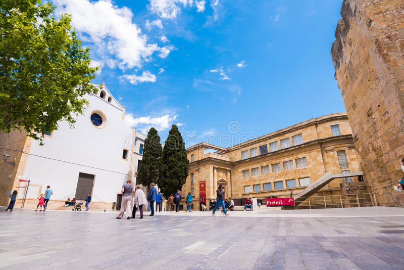 TARRAGONA, SPAIN - MAY 1, 2017: View of the square of the old city. Copy space for text. TARRAGONA, SPAIN - MAY 1, 2017: View of the square of the old city stock photo