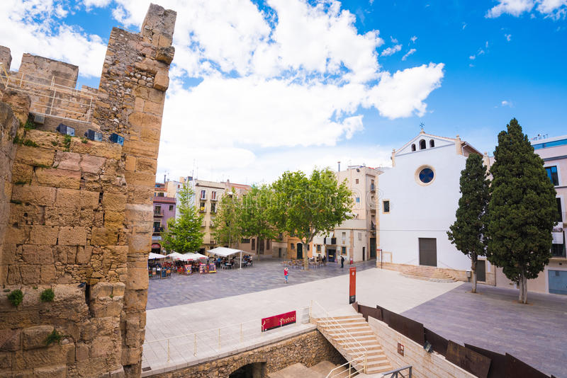 TARRAGONA, SPAIN - MAY 1, 2017: View of the square of the old city. Space for text. TARRAGONA, SPAIN - MAY 1, 2017: View of the square of the old city. Space stock photos