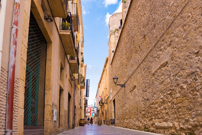 TARRAGONA, SPAIN - MAY 1, 2017: View of the street of the old town. Copy space for text. TARRAGONA, SPAIN - MAY 1, 2017: View of the street of the old town stock photos