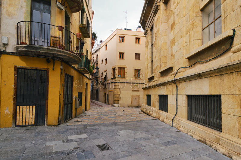 Tarragona street. View of the buildings and streets of the Spanish resort town of Tarragona stock photography