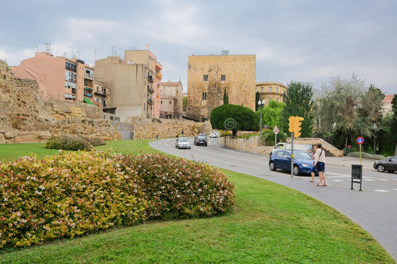 Tarragona view. View of the buildings and streets of the Spanish resort town of Tarragona stock image