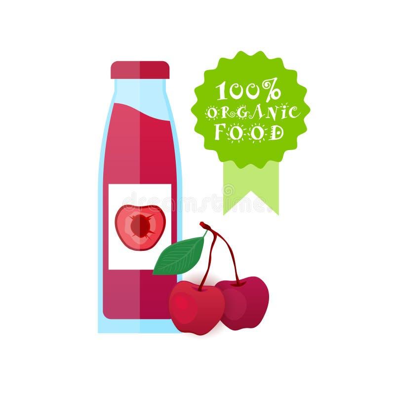Tarro con el concepto fresco de Juice Logo Natural Food Farm Products de la piña stock de ilustración