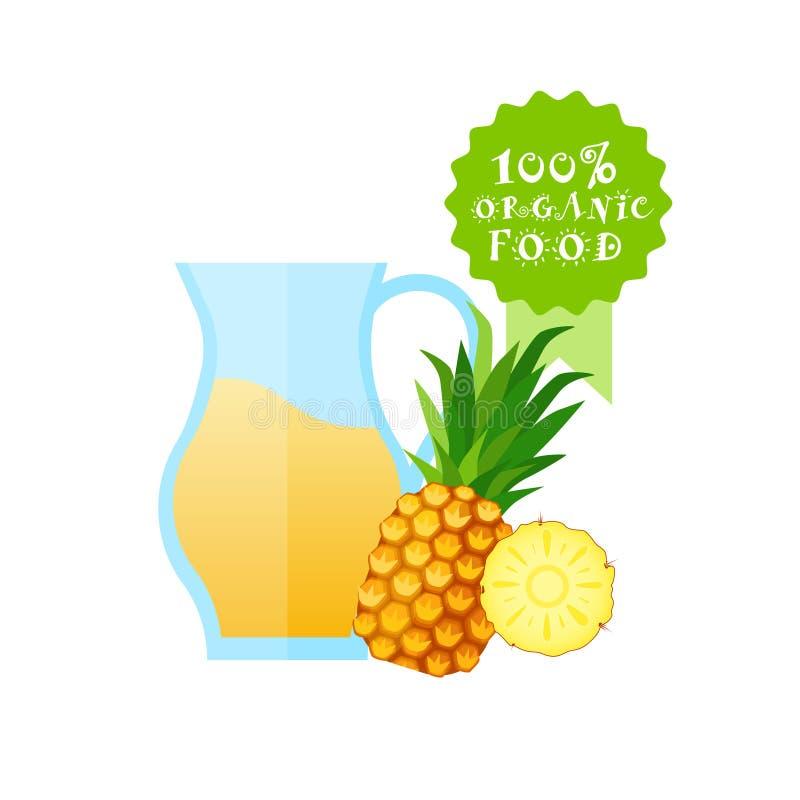 Tarro con el concepto fresco de Juice Logo Natural Food Farm Products de la piña ilustración del vector