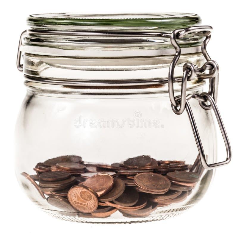 Tarro con las monedas foto de archivo libre de regalías