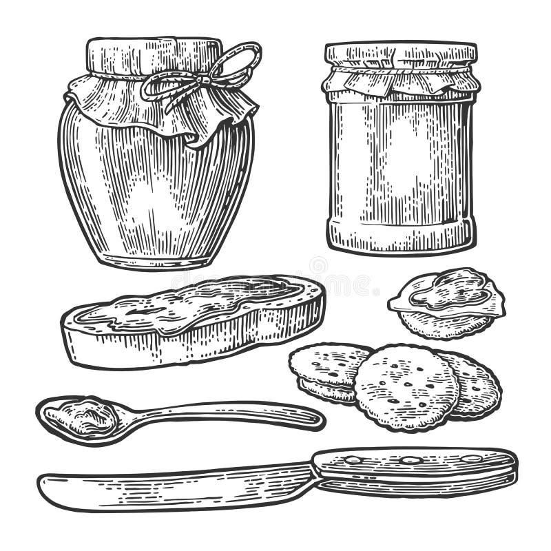 Tarro, cuchara, cuchillo y rebanada de pan con el atasco ilustración del vector