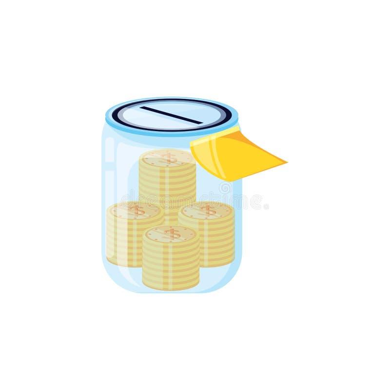 Tarro de ahorro con las monedas del dinero libre illustration