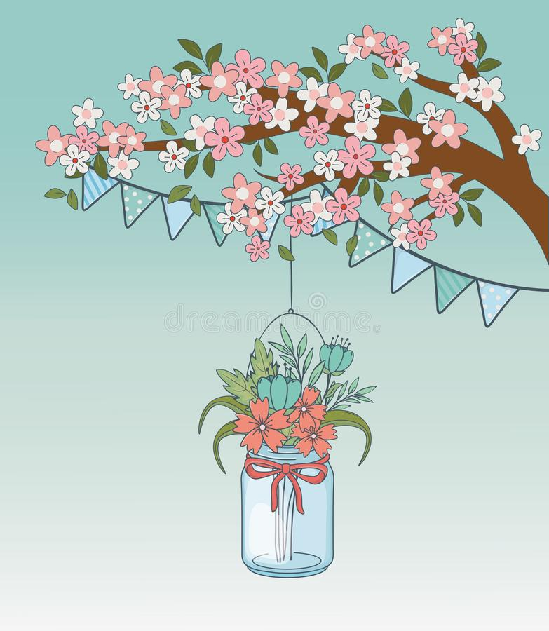 Tarro de albañil con la flor que cuelga en rama de árbol libre illustration