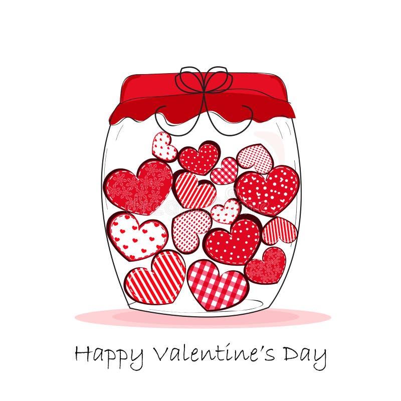 Tarro de corazones, Valentine& feliz x27; ejemplo del vector de la tarjeta de felicitación del día de s ilustración del vector