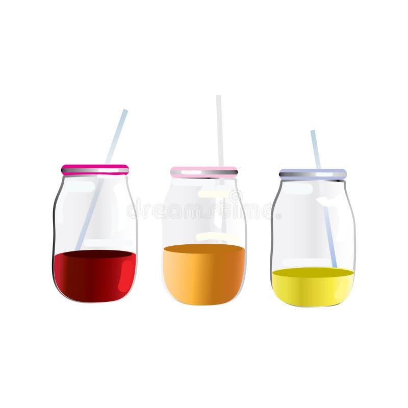 Tarro de cristal con con diversas bebidas coloreadas, smoothies y una paja ilustración del vector