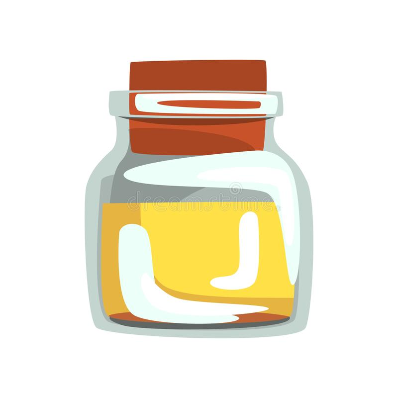 Tarro de cristal con el aceite amarillo para el balneario y el aromatherapy Ingrediente para el cuidado de piel Vector para el co ilustración del vector