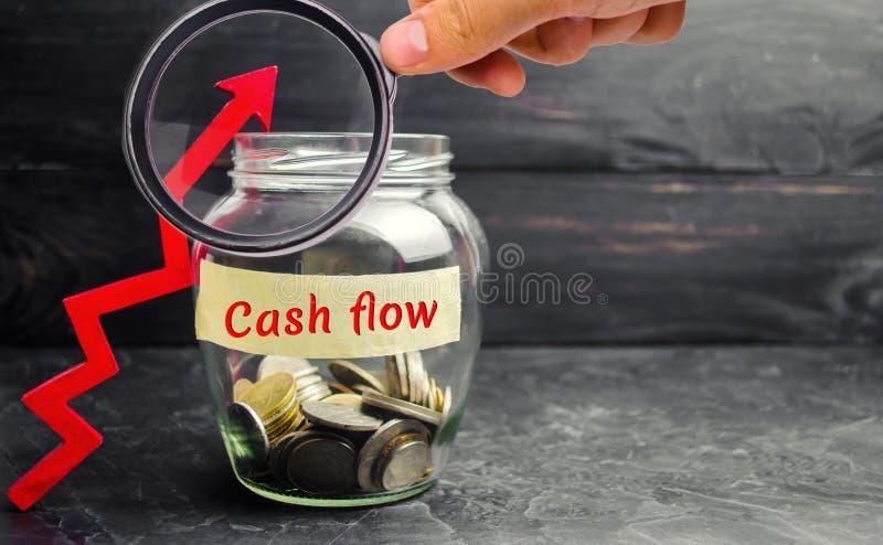 Tarro de cristal con las monedas y la inscripción 'flujo de liquidez 'y para arriba flecha Pluma, lentes y gráficos Inversiones y imagen de archivo libre de regalías