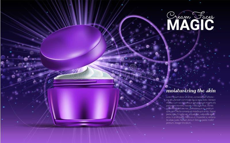 Tarro de cristal para el diseño en un fondo púrpura Cosm?ticos para la crema corporal Ilustraci?n del vector stock de ilustración