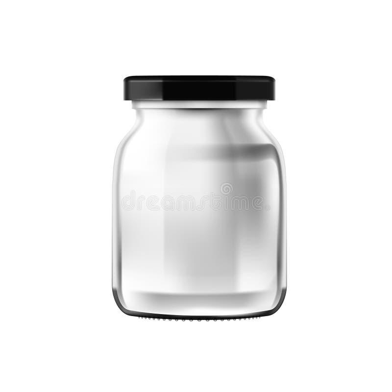 Tarro de cristal transparente brillante del bote de la forma redonda aislado en el fondo blanco stock de ilustración
