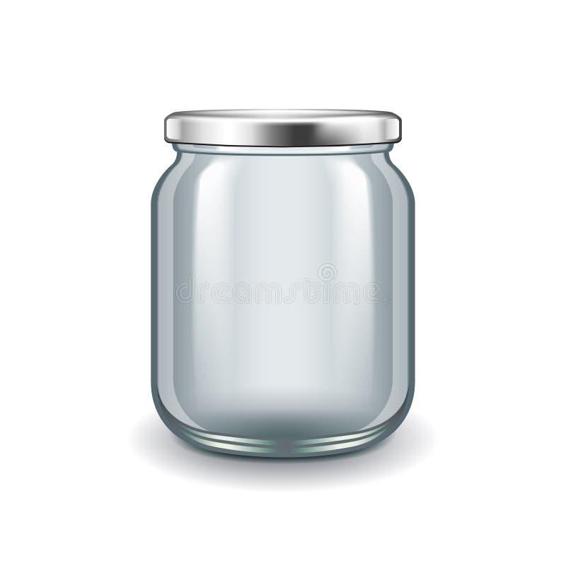 Tarro de cristal vacío aislado en el vector blanco stock de ilustración
