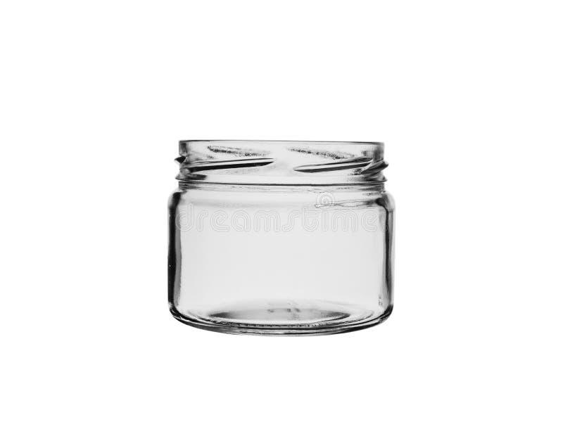 Tarro de cristal vacío viejo con la rosca de tornillo para conservar, aislada en el fondo blanco foto de archivo libre de regalías