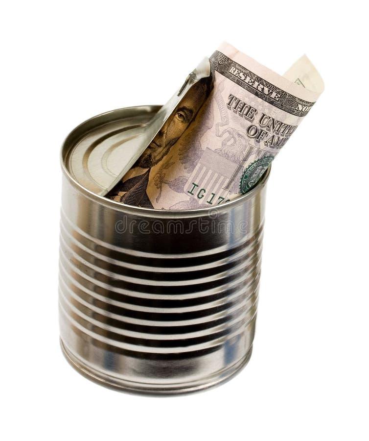 Tarro de dólares de ahorro de la lata del dinero del dinero imagenes de archivo