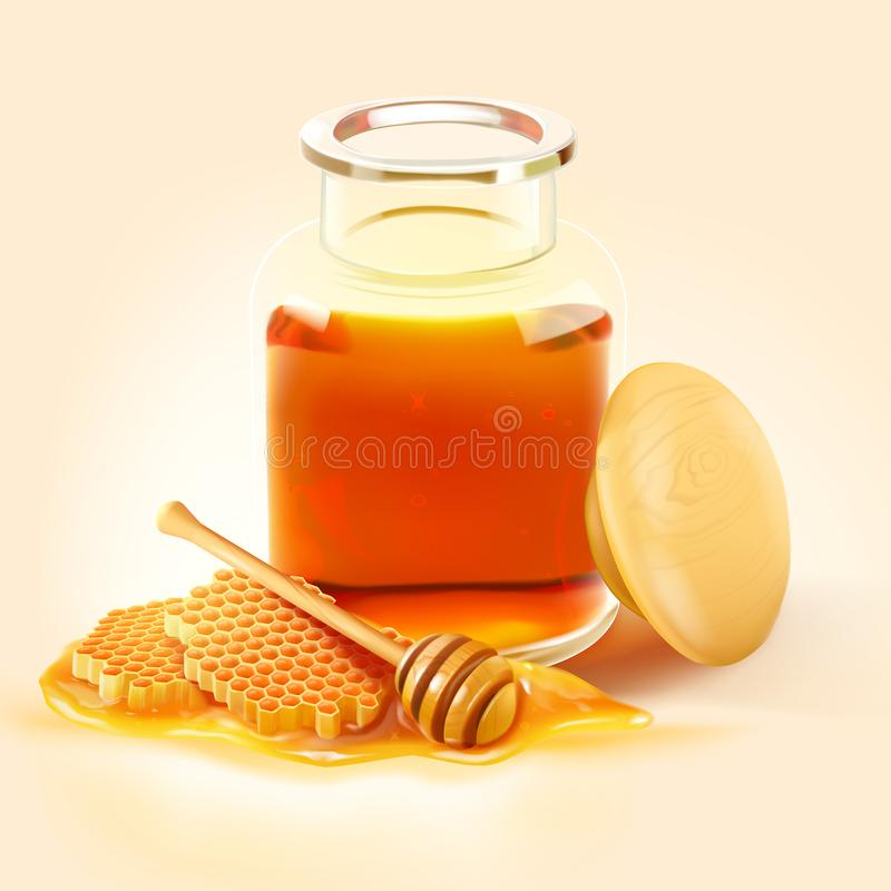 Tarro de la abeja de la miel con el peine de la miel y el cazo de madera libre illustration