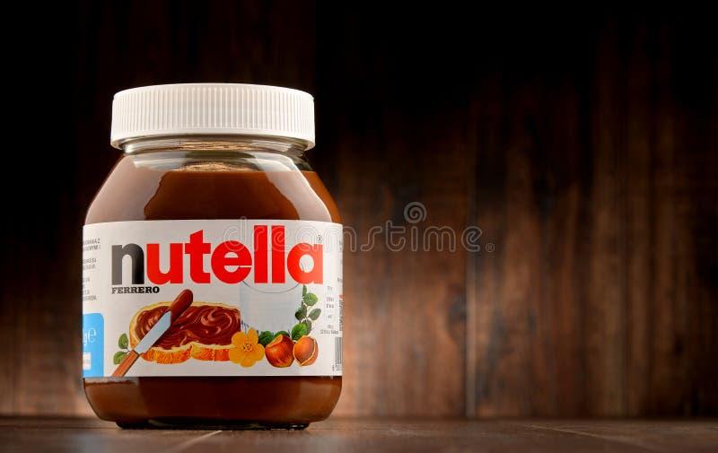 Tarro de la extensión de Nutella imagen de archivo