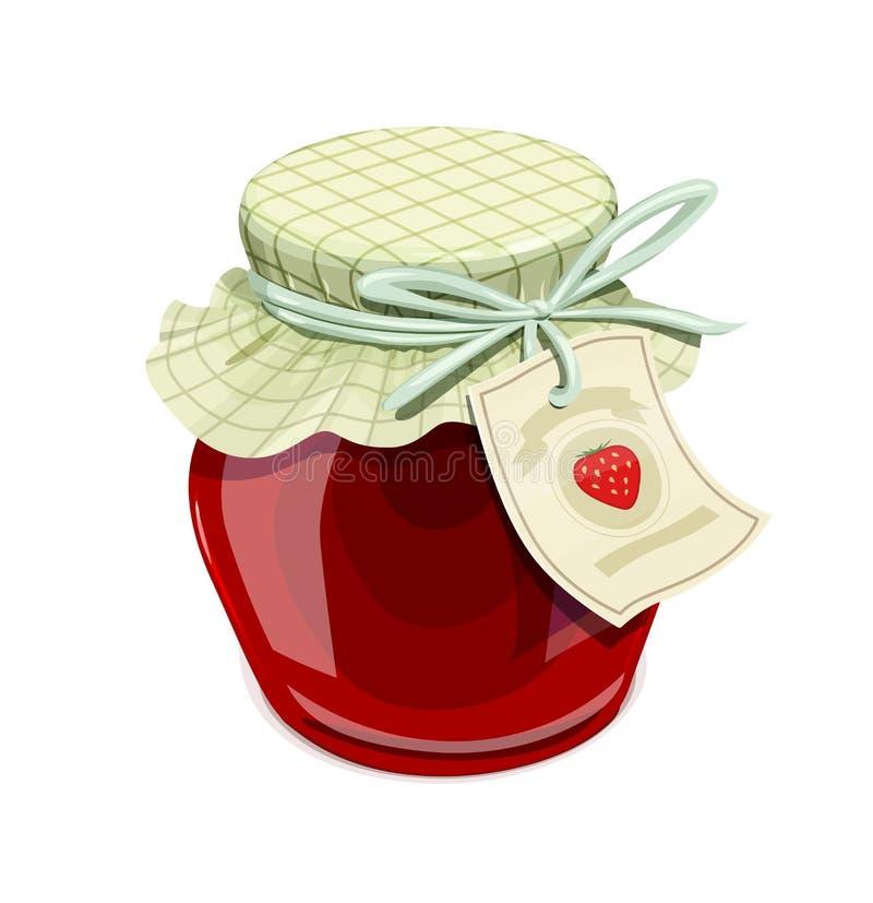 Tarro de la mermelada de fresa Estilo de la vendimia ilustración del vector