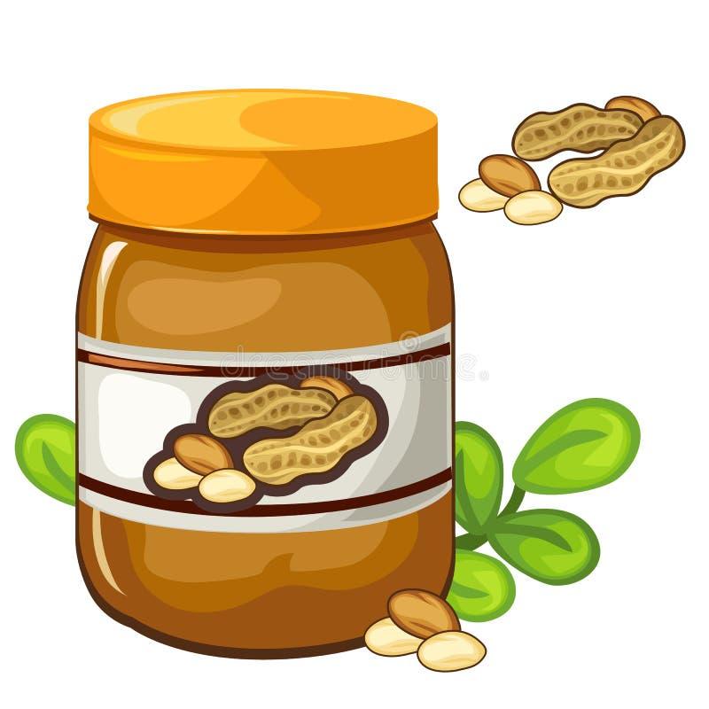 Tarro de mantequilla de cacahuete en un fondo blanco Vector stock de ilustración