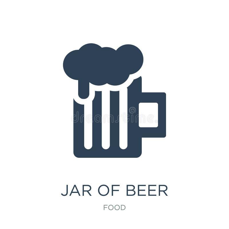 tarro del icono de la cerveza en estilo de moda del diseño tarro del icono de la cerveza aislado en el fondo blanco tarro del ico libre illustration