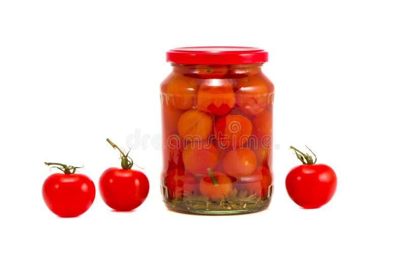 Tarro fresco y potted del vidrio del tomate imagen de archivo