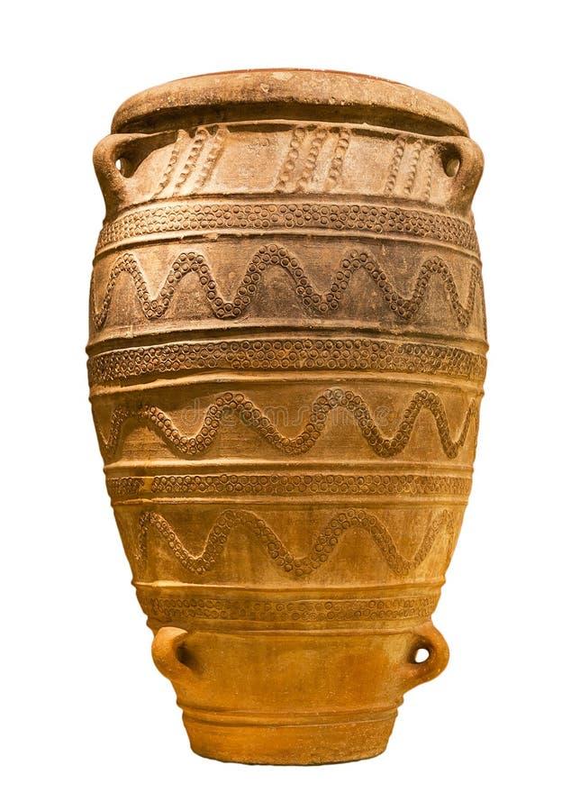 Tarro grande del almacenaje de Minoan (1450-1400 A.C.) aislado fotografía de archivo libre de regalías